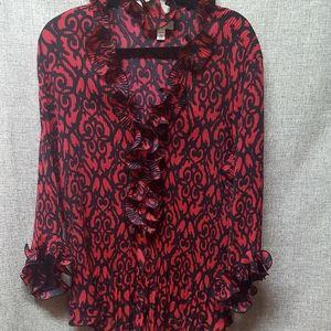 Dress Barn Red & Black Ruffled Blouse EUC Sz 3X